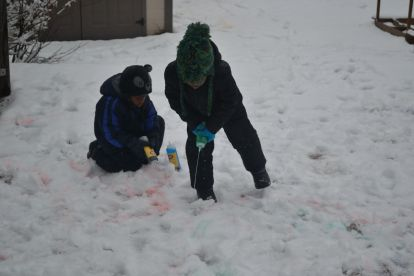 boys painting in snow